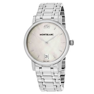 Mont Blanc Women's 108764 'StarClassique' Mother of Pearl Dial Stainless Steel Date Swiss Quartz Watch