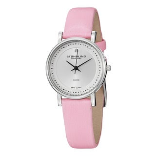 Stuhlring Original Women's Swiss Quartz Vogue Diamond Pink Satin Leather Stainless Steel Strap Watch
