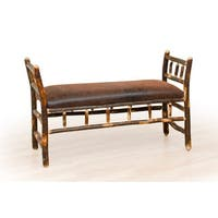 Rustic Hickory Arm Bench - Faux Brown Leather
