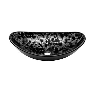 Novatto Tartaruga Black and Silvertone Glass Oval Vessel Bathroom Sink