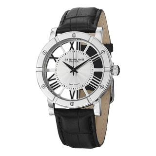 Stuhrling Original Men's Swiss Quartz Symphony Bleack Leather Stainless Steel Strap Watch