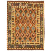 eCarpetGallery Handwoven Brown/Yellow Wool Kashkoli Kilim Rug (5'0 x 6'5)