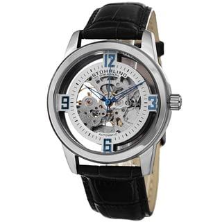 Stuhlring Original Men's Automatic Legacy Skeletonized Black Leather Stainless Steel Strap Watch