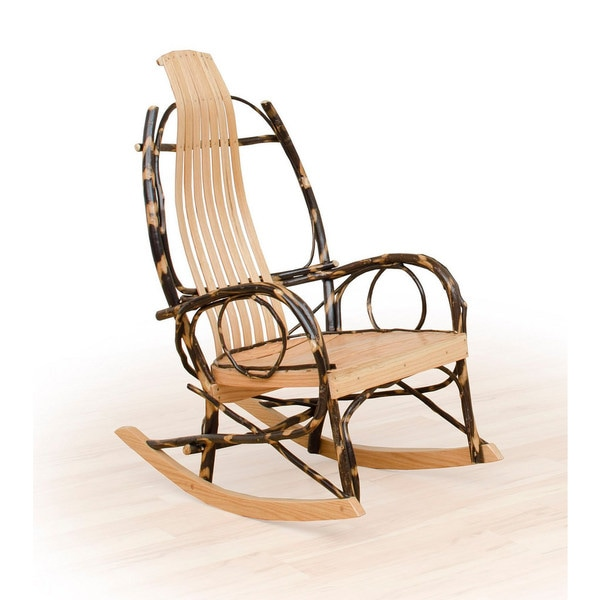 Set Of 2 Rustic Hickory And Oak Twig Arm Rocking Chairs