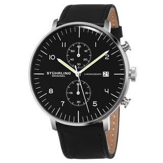 Stuhrling Original Men's Quartz Monaco Chronograph Black Leather Stainless Steel Strap Watch
