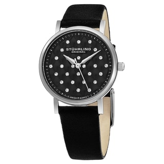 Stuhrling Original Women's Swiss Quart Vogue Crystals Black Leather Stainless Steel Strap Watch