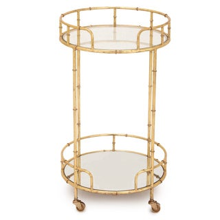 Urban Designs Gold Leaf 2-Shelf Round Rolling Bar Cart