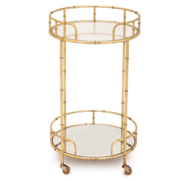 Urban Designs Gold Leaf 2 Shelf Round Rolling Bar Cart
