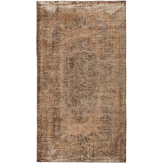Hand-knotted Color Transition Brown Wool Rug - 3'10 x 6'10