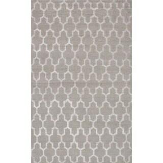 ecarpetgallery Hand-knotted La Seda Grey Wool & Art Silk Rug (4'11 x 8'0)
