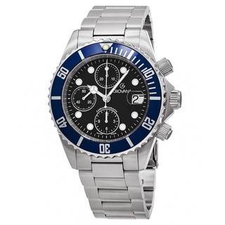Grovana Men's 1571.6135 'Divers' Black Dial Stainless Steel Chronograph Swiss Automatic Watch