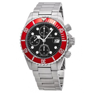Grovana Men's 1571.6136 'Divers' Black Dial Stainless Steel Chronograph Swiss Automatic Watch