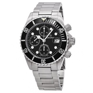 Grovana Men's 1571.6137 'Divers' Black Dial Stainless Steel Chronograph Swiss Automatic Watch