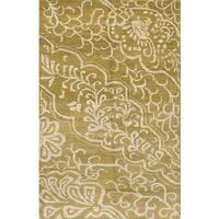 ecarpetgallery Hand-knotted La Seda Green Wool, Silk Rug (5'1 x 7'10)