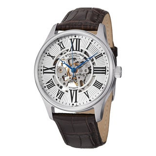Stuhrling Original Men's Automatic Legacy Black Leather Stainless Steel Strap Watch