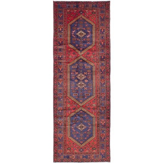 ecarpetgallery Hand-knotted Hamadan Red Wool Rug (3'5 x 9'8)