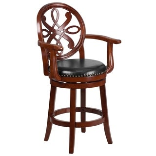 26-inch High Wood Counter Height Stool with Arms and Leather Swivel Seat