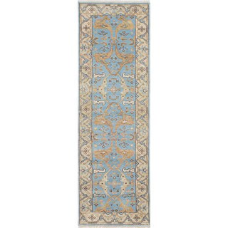 eCarpetGallery Blue Wool/Cotton Hand-knotted Royal Ushak Rug (2'6 x 8'0)