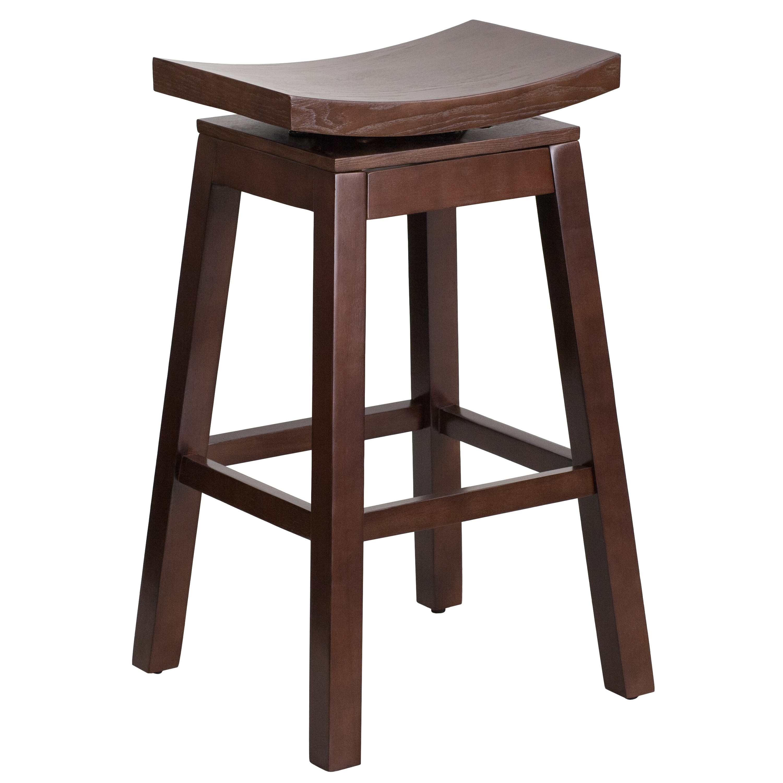 Wood Barstool With Auto Swivel Seat