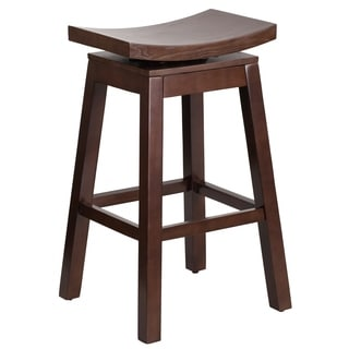 30-inch High Saddle Seat Wood Barstool with Auto Swivel Seat Return