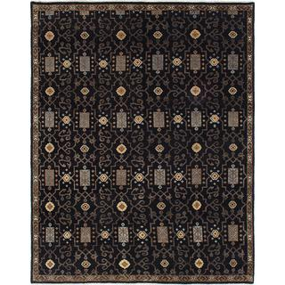 ecarpetgallery Hand-knotted Ikat Royale Black Wool Rug (7'9 x 9'10)