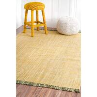 nuLOOM Handmade Flatweave Casual Cotton Fringe Yellow Rug - 7'6 x 9'6
