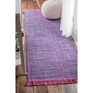 nuLOOM Handmade Flatweave Casual Cotton Fringe Purple Runner Rug (2'6 x 8')
