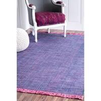 nuLOOM Handmade Flatweave Caual Cotton Fringe Purple Rug - 5' x 8'