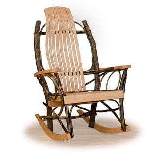 Genial Set Of 2 Rustic Hickory And Oak 9 Slats Rocking Chairs   Tan