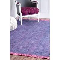 nuLOOM Handmade Flatweave Casual Cotton Fringe Purple Rug (7'6 x 9'6)