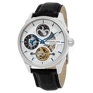 Stuhrling Original Men's Automatic Legacy Skeletonized Black Leather Stainless Steel Strap Watch