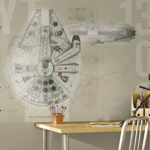 Roommates Star Wars Millennium Falcon 6' x 7.5' Ultra-strippable Prepasted Mural