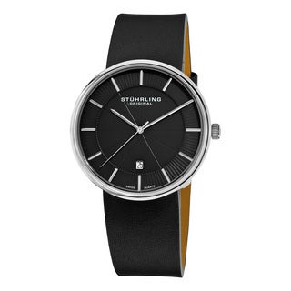 Stuhrling Original Men's Swiss Quartz Symphony Black Leather Strap Watch