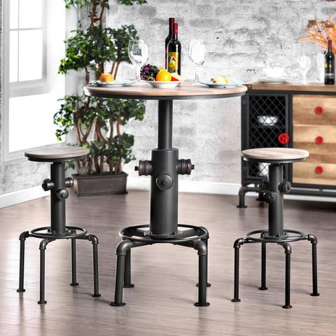 Furniture of America Protector Hydrant-inspired Metal Bar-height Round Table