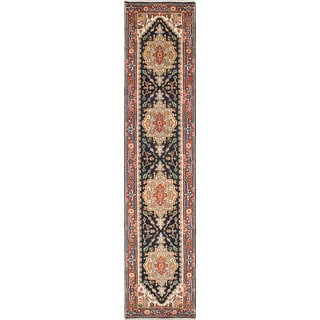 ecarpetgallery Hand-knotted Serapi Heritage Blue Wool Rug (2'7 x 11'9)