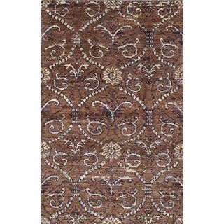 ecarpetgallery Hand-knotted Eternity Brown Hemp Rug (4'11 x 7'10)