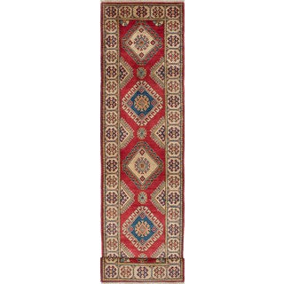 ecarpetgallery Hand-knotted Finest Gazni Ivory, Red Wool Rug (2'7 x 10'11)