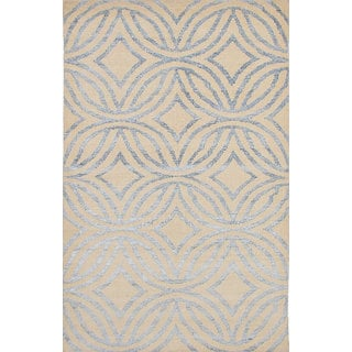 Hand-knotted La Seda Cream Silk, Wool Rug - 5'1 x 8'2