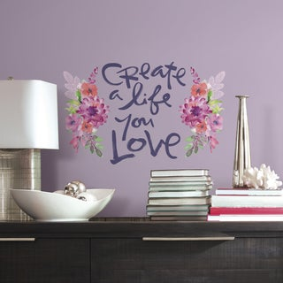 Kathy Davis 'Create a Life' Pink/Purple/Red Floral Quote Peel and Stick Giant Wall Decals