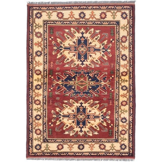 ecarpetgallery Hand-knotted Finest Kargahi Red Wool Rug (4'2 x 5'11)