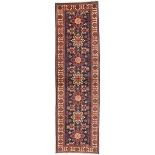 ecarpetgallery Hand-knotted Finest Kargahi Blue Wool Rug (2'10 x 9'6)