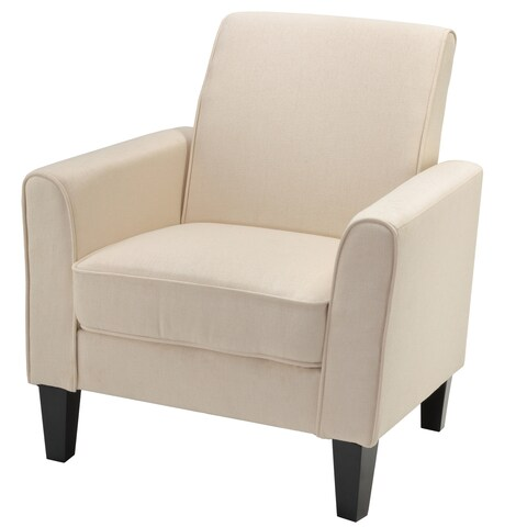 Cortesi Home Tali Solid Beige Linen Fabric Accent Arm Chair