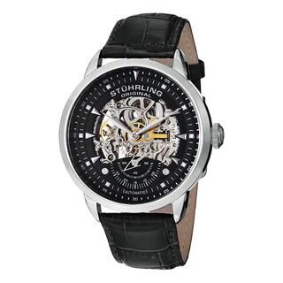 Stuhrling Original Men's Automatic Legacy Skeletonized Black LeatherStainless Steel Strap Watch
