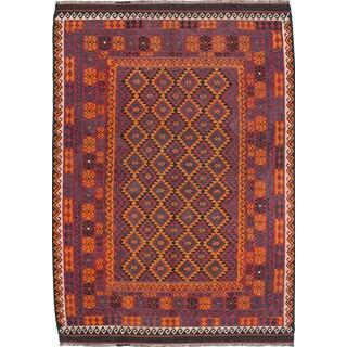 ecarpetgallery Hand-woven Qashqai Red Wool Kilim (6'10 x 9'9)