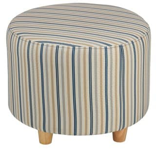 Cortesi Home Jenner Striped Fabric and Wood Round Ottoman