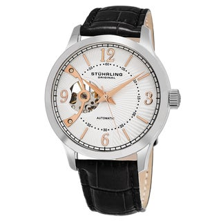 Stuhrling Original Men's Automatic Legacy Open Heart Dial Black Leather Strap Watch