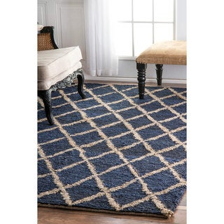 nuLOOM Hand-knotted Natural Fiber Braided Trellis Jute Navy Rug (8'6 x 11'6)