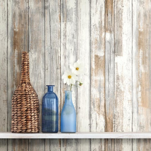 Roommates Distressed Wood Peel-and-stick Wall Decor