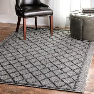 nuLOOM Flatweave Trellis Indoor/ Outdoor Patio Grey Area Rug (3' x 5')