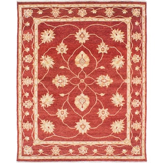 ecarpetgallery Hand-knotted Chubi Collection Red Wool Rug (5'0 x 6'3)